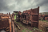rusting tractors - Stock Image - D8FPDF