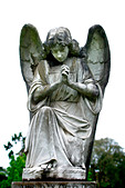 Praying angel in church graveyard - Stock Image - AF2WN3