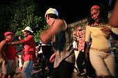 People dancing on the street, Trinidad, Cuba island, West Indies, Central America - Stock Image - B7E5BC