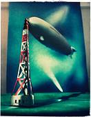 old display of blimp docked to tower. Polaroid transfer - Stock Image - BTHR2N