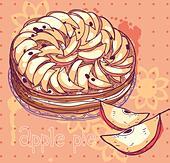 vector illustration of an apple pie - Stock Image - DKHK25