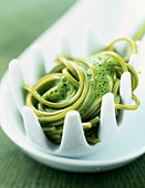 Green Matcha tea -flavored noodles with mint dressing - Stock Image - C8E27K