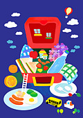 Opened Picnic Lunch Box - Stock Image - C8T1C2