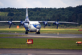 Gromov Air (Irkut-Avia) Antonov An-12 on runway at Farnborough International Airshow 2012 - Stock Image - D58321