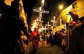 5th November, 2014. The 17 flaming crosses of the martyrs are carried down Cliffe High Street at the annual Lewes Bonfire - Stock Image - EA2A8F