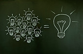Many small ideas equal a big one, illustrated with chalk drawn light bulbs on a blackboard. - Stock Image - C57R00