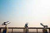 Three Telescope on the roof and looking to the sky - Stock Image - BX5TWH