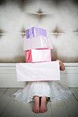 Little girl with birthday presents - Stock Image - B07TC5