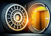 Open safe door - Stock Image - C8X7W3