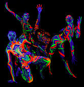 Atlanta, Georgia, USA. 2nd Oct, 2014. Models pose backstage at the Fluoro Show, a 3D ultraviolet bodypainting extravaganza produced by Living Art America on day one of their three-day North American Body Painting Championships. © Brian Cahn/ZUMA Wire/Alamy Live News - Stock Image - E89P6H