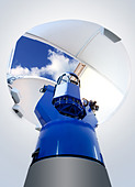 astronomical observatory telescope indoor blue sky - Stock Image - C7X0HW