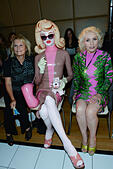 London, UK. 15th Sep, 2014. Jennifer Saunders, Pandemonia and Debbie Harry attends Vin Omi showcases striking collection for London Fashion Week SS15 at The Cumberland Hotel Marble Arch in London. Photo by See Li © See Li/Alamy Live News - Stock Image - E7EP25