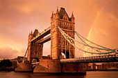 England, London, Tower Bridge with Rainbow - Stock Image - CNWC57