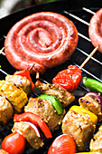 close up shut of sausages on the grill - Stock Image - CPHFD8