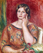 "fine arts, Renoir, Auguste (1841 - 1919), painting, ""Portrait of Madame Osthaus"", 1913, Museum Folkwang, Essen, impressionism - Stock Image - BD66K2"