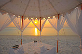 Dinner at the beach, Maldives, Indian Ocean, Asia - Stock Image - BG3X2D