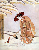 Young Japanese woman in kimono with straw hat - discovering a bamboo sprout beneath the snow. Print by Suzuki Harunobu, Japanese - Stock Image - A4K7JX