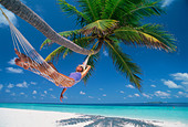 Woman in hammock under palm tree in idyllic holiday setting - Stock Image - CW5T2D