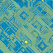 Printed blue industrial circuit board texture - Stock Image - C11FYD