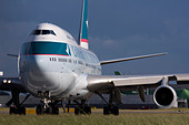 Cathay Pacific Airways Boeing 747-467 taxiing for departure at London Heathrow airport UK - Stock Image - B8F1F8