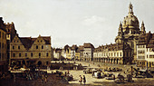 "fine arts, Bellotto, Bernardo, called Canaletto (20.5.1722 - 17.11.1780), painting ""Der Neumarkt in Dresden von der Moritzstra - Stock Image - BD68HG"