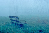 Lone Bench in Fog, London, England - Stock Image - ARF5T9