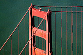 aerial view above Golden Gate bridge San Francisco California - Stock Image - AP52RJ