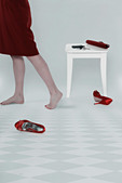 the legs of a woman and her accessoires - Stock Image - D24M9G