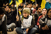 Brussels, Bxl, Belgium. 7th Oct, 2014. Syrian Kurds broke into the European Parliament during a demonstration calling for support for the Syrian Kurdish town of Ain al-Arab, known as Kobane by the Kurds and currently besieged by the Islamic State (IS), in Brussels, Belgium on 07.10.2014 Islamic State jihadists pushed into the key Syrian town of Ain al-Arab (Kobane) on the Turkish border, seizing three districts in the city's east after fierce street fighting with its Kurdish defenders. by Wiktor Dabkowski © Wiktor Dabkowski/ZUMA Wire/Alamy Live News - Stock Image - E8F7Y8