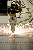 Laser Machine Cutting Metal - Stock Image - BDJCYA