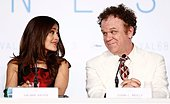 epa04747675 Mexican actress Salma Hayek (L) and US actor John C. Reilly (R) attend the press conference for 'Il Racconto Dei Racconti' (Tale of Tales) during the 68th annual Cannes Film Festival, in Cannes, France, 14 May 2015. The movie is presented in the Official Competition of the festival which runs from 13 to 24 May.  EPA/IAN LANGSDON - Stock Image - EPDDBM