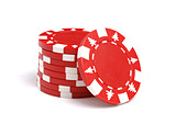 Red poker chips with Christmas tree markings - Stock Image - ABC0GG