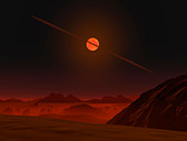 A view across a hypothetical primitive alien planet towards a brown dwarf in the sky. - Stock Image - C0DR70