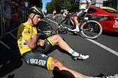 Le Havre, France. 09th July, 2015. MARTIN Tony of Etixx - Quick Step lies on the road injured after crashing during stage 6 of the 102nd edition of the Tour de France 2015 with start in Abbeville and finish in Le Havre, France (191 kms) © Action Plus Sports/Alamy Live News - Stock Image - EXA4D4