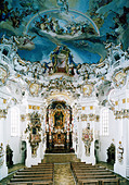 architecture, churches and convents, Germany, Bavaria, pilgrimage church of Wies, built 1745 - 1754 after plan by Johann Bapist - Stock Image - B48DTR