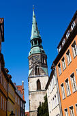 St Crucis church Hanover from Kreuz strasse, Hanover, Germany - Stock Image - E6W2AX