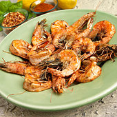 Whole Shrimp Sauteed in Bacon Fat - Stock Image - BJMAYG