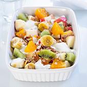 Close-up of bowl of fruit salad - Stock Image - B6BK6M