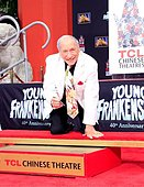 epa04393288 A picture made available on 10 September 2014 shows US actor, director and comedian Mel Brooks reacting during his Hands and Footprint Ceremony on the 40th anniversary of his movie 'Young Frankenstein', in front of the TCL Chinese Theatre in Hollywood, Los Angeles, California, USA, 08 September 2014. Brooks wore a prosthetic sixth finger on his left hand to add some extra charm while marking his feet and hands into the cement.  EPA/NINA PROMMER - Stock Image - E7BYJH