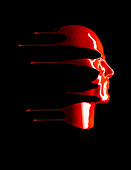 A red liquid face - Stock Image - B28F2E