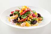 ORANGE & CHORIZO SALAD - Stock Image - BN4RMW