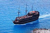 Fun cruise ship, Black Pearl from Ayia Napa, Cyprus off Cape Greco. - Stock Image - EA00R8