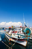 Traditional Cypriot fishing boat in Larnaca fishing harbour. - Stock Image - E9YYRX