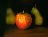 RED APPLE WITH TWO PEARS - Stock Image - C55MH6