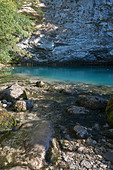 Blue Lake located in the mountains of Abkhazia - Stock Image - E49B52