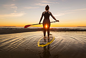 Woman at sunset on her stand up paddle surf board. Tarifa, Costa de la Luz, Cadiz, Andalusia, Spain. - Stock Image - D1722T