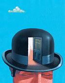 Businessman in bowler hat with open door - Stock Image - C2T3RF