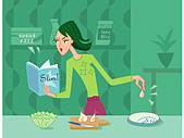 A woman cooking from a diet cookbook - Stock Image - BPXYYC