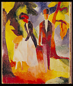 """fine arts, Macke, August, (3.1.1887 - 26.9.1914), painting, ""Leute am blauen See"", ""People at the blue lake"", 1913, oil on - Stock Image - AMDNTM"