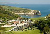 View of Lulworth Cove Dorset England UK - Stock Image - AEEHWB